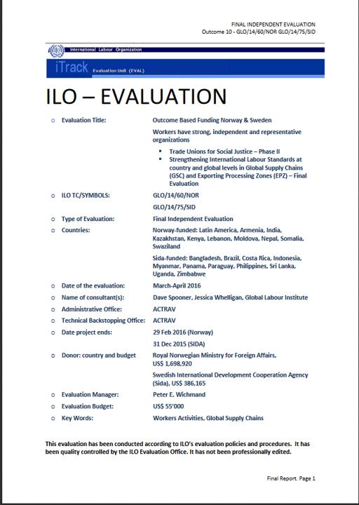 ILO Evaluation 2016