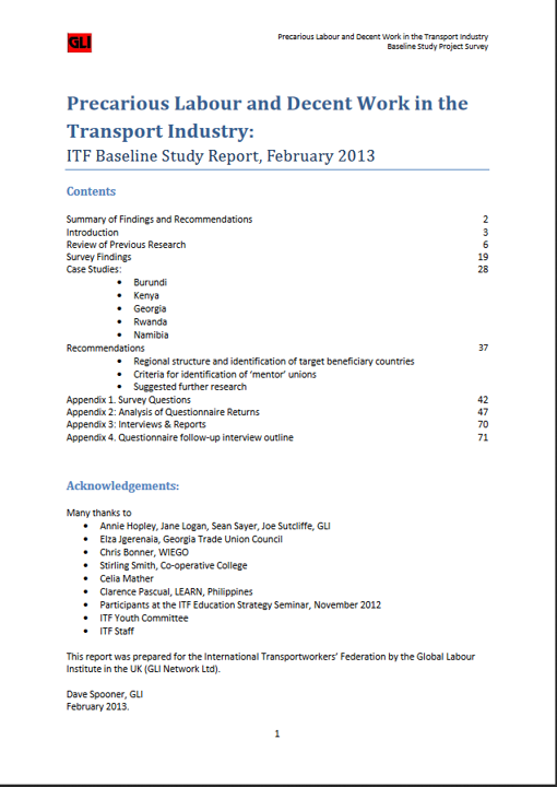 Precarious Labour and Decent Work in the Transport Industry